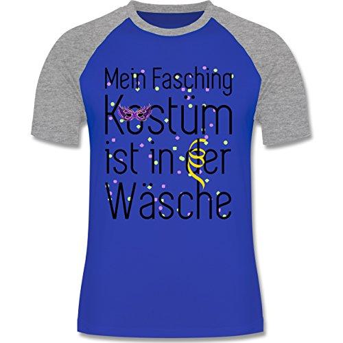 Karneval & Fasching - Mein Fasching Kostüm ist in der Wäsche - zweifarbiges Baseballshirt für Männer Royalblau/Grau meliert
