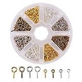 pandahall Elite Eisenschraube Augenstift Bail Rasten Halb-gebohrte Perlen 10~13x4~6.5x1~1.5 mm