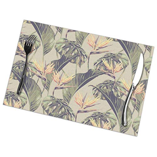 Aeykis Tischsets,Tropical Leaves Wallpaper Heat-Resistant Washable Cotton Tischsets,Polyester Linen Dining Table Mats for Kitchen,Set of 6 (Wallpaper Dota 2)