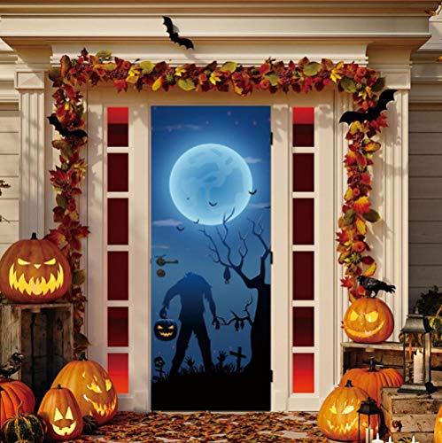 LRJDETwithout Kopf Halloween Dekoration Tür Aufkleber Vinyl DIY Tür Erneuern AufkleberSelbstklebende Tapeten Tür Murals77X200CM
