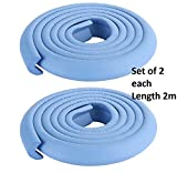 #9: BabyGo Set of 2 - Soft Baby Child Safety Edge Guard Strip Anti-collision Strip for Table Desk Edge Corner Bumper Cushion Cover Protector with Double-sided Self-adhesive (2 Mtrs x 2 pieces)