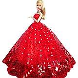 WayIn® El vestido de partido hecho a mano magnífico con Lentejuelas Diseñado para adaptarse a la muñeca Barbie Rojo