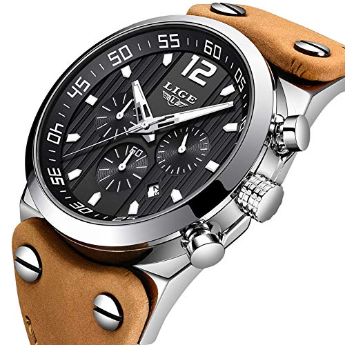LIGE Relojes para Hombre Moda Impermeable Deportes Cuarzo Analógico Reloj con Cronógrafo Militar Cronógrafo Esfera Grande Marrón Correa de Cuero Reloj de Pulsera