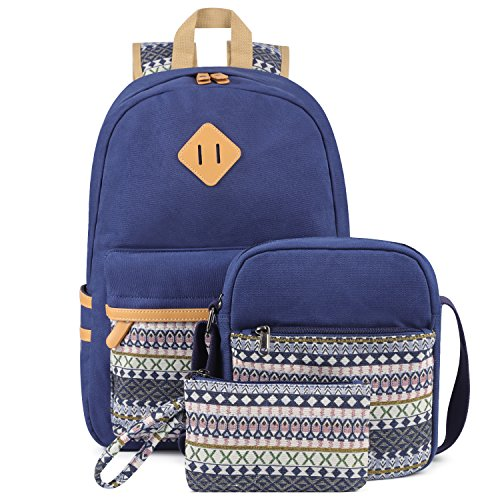 Plambag Canvas Laptop School Backpack Set,Small Messenger Shoulder Bag and Pen Case Pouch