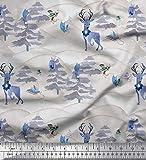 Soimoi Blau schwere Leinwand Stoff Tiere, Baum & Schnee
