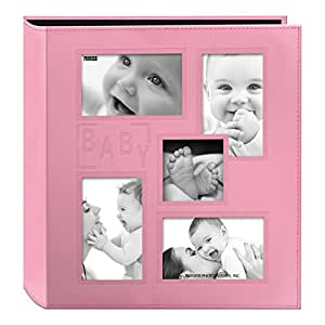 "Pioneer Collage Frame Embossed""Baby"" Sewn Leatherette Cover Photo Album, Baby Pink"