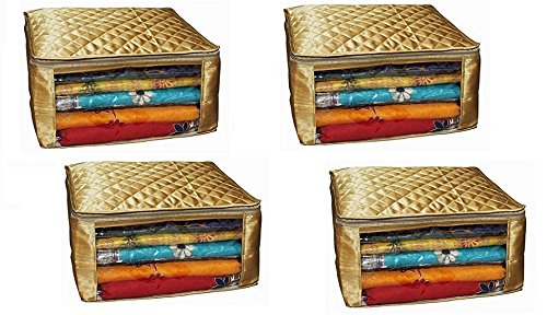 Fancy Walas Saree Cover Extra Large Size in Golden Quilted Satin (with Capacity of Upto 15 Sarees) Pack of 4