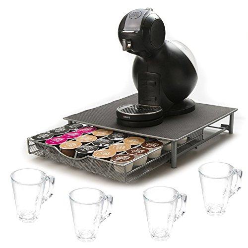 Direct Online Houseware RKW2514-G/RKG2248-S4 Kaffeekapselschublade und Gläser, Grau