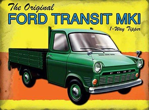 La Ford Transit MKI 1 via ribaltabile. In verde. Britannico furgone classico,dietro bone di Gran Bretagna. Marchio 1. house,casa,bar,pub,garage,capanno/man Covo. Metallo/Targa Da Parete In Acciaio