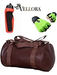VELLORA Soft Leather Duffel Gym Bag (Brown) With Penguin Sport Sipper, Gym Sipper Water Bottle Color Black Red... - B07F2MZVTX