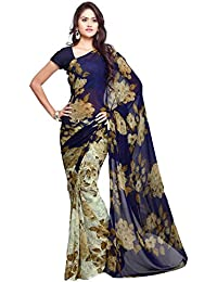 Ligalz Women's Chiffon Saree (L0061167_Blue)