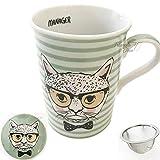 TD Teetasse aus Porzellan mit Sieb und Deckel, 300 ml, Motiv Katze, Grün