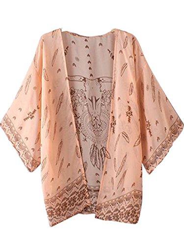 FEITONG Damen Boho Drucken Chiffon Schal Kimono Cardigan 3/4 Hülsen Tops Bluse Cover Up (XL) (Art-damen-ringer)