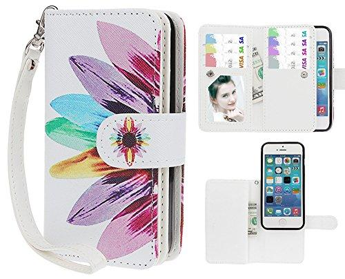 xhorizon TM FX Prämie Leder Folio case [Brieftasche][Magnetisch abnehmbar] Uhrarmband Geldbeutel Flip Mehrfache Kartenschlitz Hülle Tasche für iPhone 5C(Aquarell mit 9H Ausgeglichenes Glas-Film) Sonnenblume