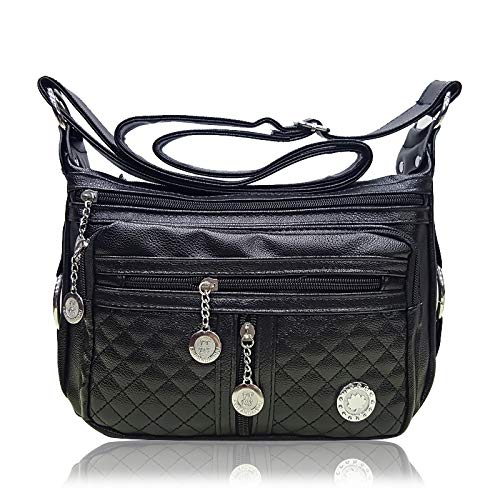 Yukun Handtasche Ältere Mutter Tasche Brieftasche Damen große Kapazität Multi-Layer-Reißverschluss Old Man Slung Schultertasche Soft Pu, schwarz