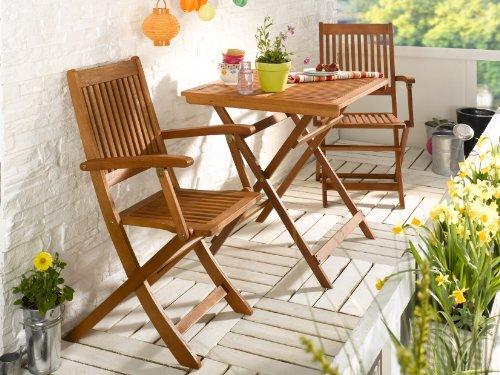 BALKON-SET Gartenmöbel Set 1 Klapptisch + 2 Klappstühle