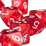 Juegos de Mesa Casino Dados de D10 Plásticos Rojos TRPG Dungeons y Dragons