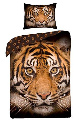 Mini-Maxi &  - Biancheria da letto composta da copri-piumone da 140 x 200 cm, federa 70 x 80 cm, per camera ragazzi, 100% cotone, motivo: tigre