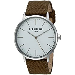 Ben Sherman Men's Quartz Watch with White Dial Analogue Display and Green Fabric Strap WB009GR