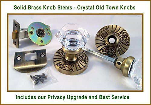 24% Lead Crystal OLD TOWN & ANTIQUE BRASS PRIVACY Door Knob Set with handcrafted HARDWARE by Rousso's Reproduction -