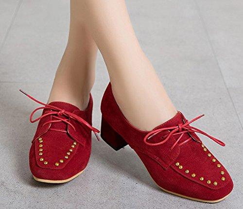 Aisun Femme Mode Rivets Bout Carré Escarpins Rouge