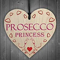 RED OCEAN Prosecco Princess Novelty Wooden Hanging Heart Plaque Friendship Sign Girls Gift