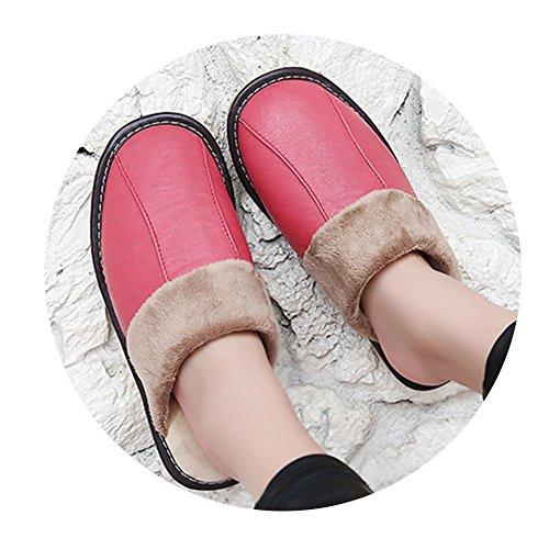 TELLW Uomo e Donna Pantofole Calde Invernali Pantofole morbide in Cotone per Interni Scarpe Invernali morbide a Permeabilità Morbida Rosso chiaro