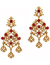 Piedra de toque de la India Bollywood filigrana trabajo fucsia largo araña joyas  pendientes en tono 55a584b0898
