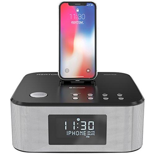 AZATOM Homehub Lightning Dock Alarm Clock Radio 30W Bluetooth for iPhone X, 8, 8 plus, 7plus, 7, 6s, 6, 5s, 5, SE Nano 7G, Touch 6G 5G , iPad mini and iPads, Black