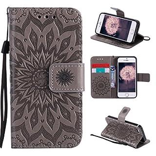 Asnlove Tasche für Apple iPhone SE, iPhone 5 Leder Hülle, Premium PU Ledertasche im Ständer Book Case mit Kartenfach Magnetverschluss und Standfunktion für iPhone 5/5S/SE Design Mandala