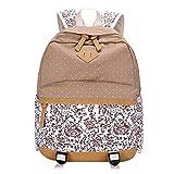 YipGrace Mädchen Gestreift Rucksack Leinwandstudenten Schultasche Grosse Kapazität Laptoptasche Für Die Universität Daypack Für Teenager Khaki