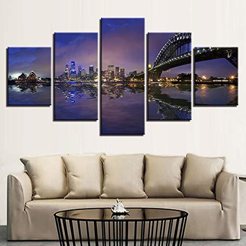 juntop Fotografie Wohnkultur Leinwand Gemälde Moderne Für Wohnzimmer Wandkunst 5 Stücke Sydney Harbour Bridge City Nightscape Poster Drucken Bild-Rahmen (Sydney Harbour Bridge Poster)