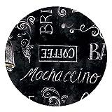 DecoHomeTextil Wachstuch Kaffee Tee Cappuccino Espresso Rund Oval Größe & Farbe Wählbar Cafe Bar Schwarz 120 cm Rund abwaschbare Tischdecke