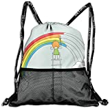 RAINNY Drawstring Backpacks Bags,Doodle of A Girl on Ladder Painting Rainbow with Clouds on Pale Toned Background,5 Liter Capacity,Adjustable