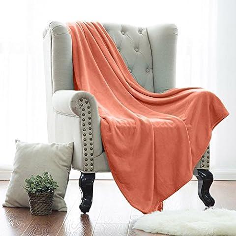Super Soft Warm Plush Faux Fur Mink Fleece Flannel Blanket Sofa Bed Throw - Royalty Line® Coral