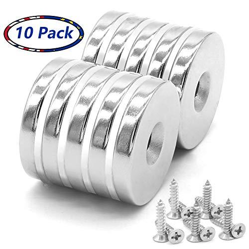 10 Stück Neodym-Disc Senkkopf Loch Magnete, stark, Permanent, Seltenerdmagnete 30mm x 5mm, mit 10 Schrauben