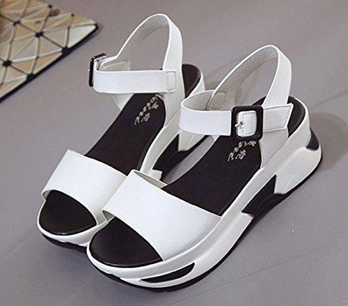 EOZY-Sandali con Zeppa Tacco Scarpe Donna Ragazza Cinturino alla Caviglia Spiaggia Vacanza Sandals Bianco