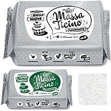 Barry Callebaut Massa Ticino Tropic, weiß, 1kg - PLUS Edition incl. 250 g Fondant in Wunschfarbe und professioneller Bäckerstärke (Grün)
