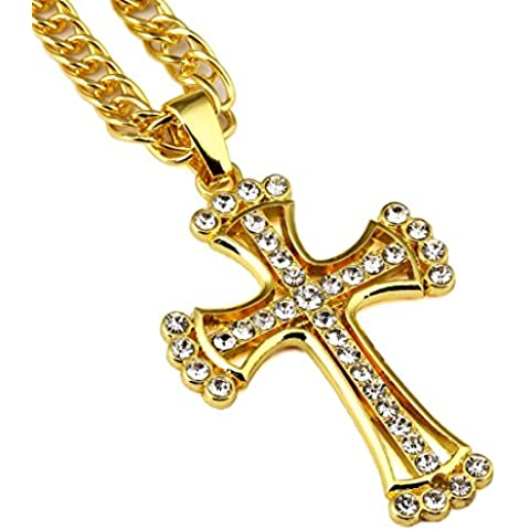 nyuk Nero Hip hop uomini collana croce di strass, retro Electroplate - 14k Yellow Gold Leaf