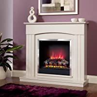 Electric Suite Fire Place - Be Modern Linmere - Almond Surround - Log Effect