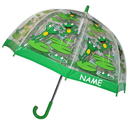 Unbekannt Regenschirm Frosch - Kinderschirm Transparent Incl. Namen - Ø 70 cm - Kinder Stockschirm Regenschirm - für Mädchen Jungen Schirm Kinderregenschirm / Glockenschirm Tiere Frösche Durchsichtig