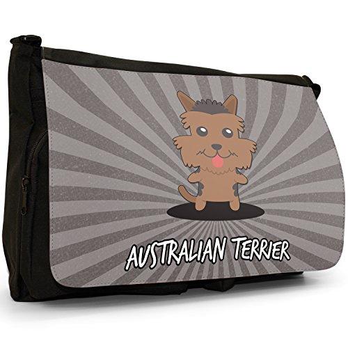 Australiano Cartoon cani grande borsa a tracolla Messenger Tela Nera, scuola/Borsa Per Laptop Australian Terrier, Aussie