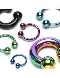 Lot de Six Piercings Barres Barbells Circulaires 1.2mm en Titane Anodisé