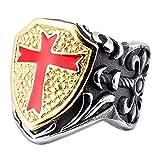 XDBMK La Moda de joyería de Acero Inoxidable 316L, la Cruz Roja templarios Anillos para Hombre