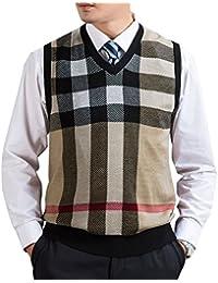 Zicac Gilet sans manches col V en tricot homme pour l`automne et l`hiver