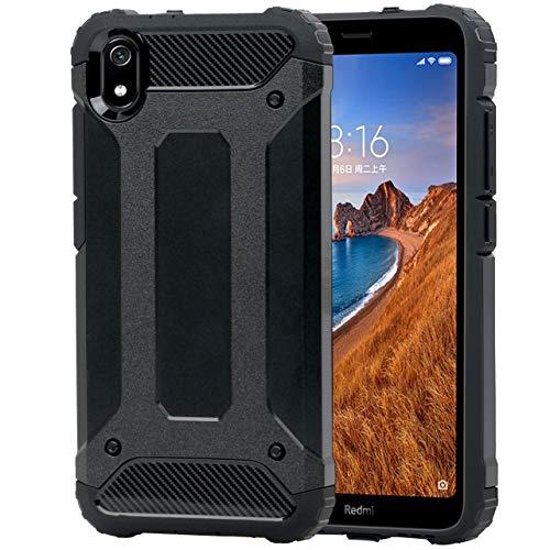 Coque pour Xiaomi Redmi 7A + Verre Trempé, Weideworld [Armor Box] [Double Couche] Coque de Protection Robuste Antichoc et Hybride pour Xiaomi Redmi 7A, Noir