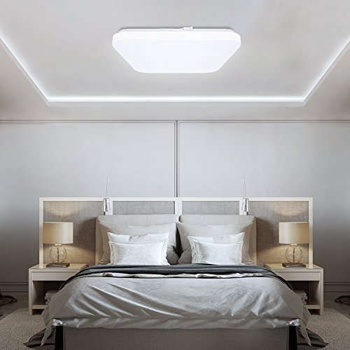 Eckige Deckenleucht LED 24W Tonffi Nassraumleuchte IP54 Balkonlicht Küchelicht Badlampe 6000-6500K Kaltweiß Beleuchtung für Küche Balkon 330 * 330 * 60MM