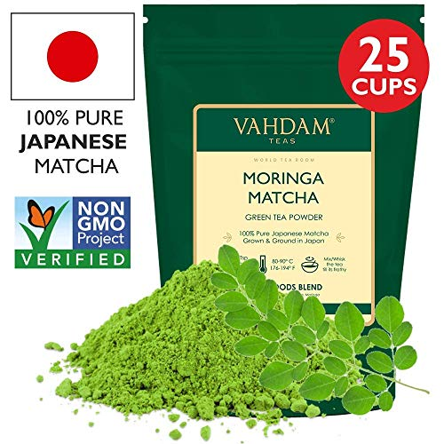 VAHDAM, Moringa + Matcha Green Tea Powder - Powerful SUPERFOODS Blend, 50g (25 Servings) - Pure Japanese Matcha Powder with Authentic Moringa Powder � 137x Anti-OXIDANTS, Delicious Matcha Latte