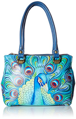 Anuschka handgemaltes Leder DREI Compartment Medium Tote, Jeweled Plume -