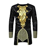 Dragon868 Herren Langarmshirt African Dashiki Men Es Traditionelles National Hot Gold Bedrucktes Langärmeliges Hemd